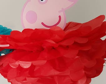 Peppa Pig party decoration/George Pig birthday Decoration/Party Supplies/Pompom/Character Pompoms