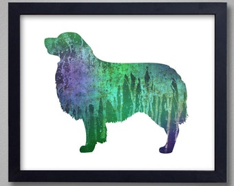 Australian Shepherd Art Print - Proceeds to Shelters - Dog Wall Art - Abstract Digital Animal Painting