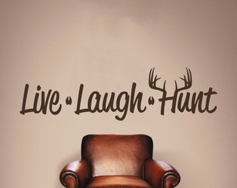 Live Laugh Hunt Wall Decal, Deer Antlers, Tracks, Wall Decor, Vinyl Wall Decor, Bedroom Decor, Home Decor, Outdoors, Hunting
