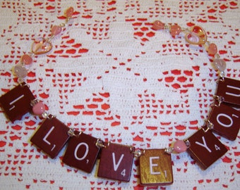I Love You - Scrabble Tile Ornament - Dark Red