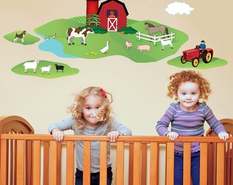 Red Barn with Farm Animals Wall Decals, Removable and Reusable
