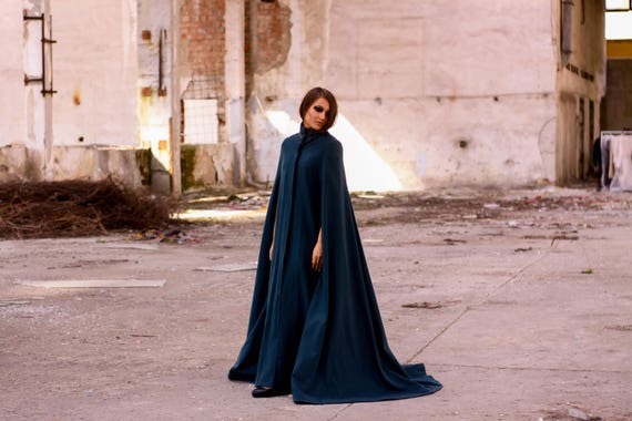 Long Winter Coat Designer Clothing Coat Clothing Woman Coat Trend Clothing Emerald Cloak Cape Avant Woman Coat Coat Party Coat Garde px15w7t