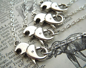 Set Of 4 Tiny Silver Elephant Necklace & Elephant Bracelet Silver Tone Metal Fashion Jewelry Clasp Trunk Up For Good Luck Costume Jewelry