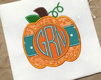 Pumpkin Applique Shirt / Pumpkin Monogram / Personalized Pumpkin Shirt / Halloween Shirt / Girl Fall Shirt / Girl Thanksgiving Shirt