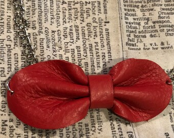 Leather Bow Necklace