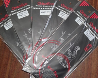 """CHIAOGOO Red knit, 32"""" Stainless Steel Circular knitting Needles. Size 0-11"""