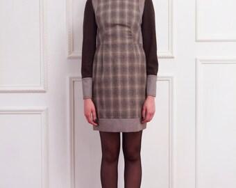 Angenehm check Dress  -  Warm Sand BROWN