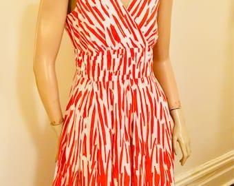 Red and white print Summer day dress medium