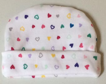 Preemie and Newborn Hearts Hat 5 Sizes NICU