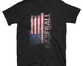 Baseball Dad T-Shirt - American Baseball Shirt - USA Flag Tee - Baseball Lovers Shirt - Baseball Gifts For Men And Women
