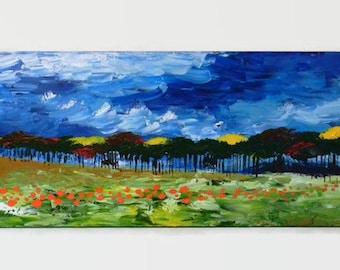 "Pumpkin Patch: Part Two - Original Acrylic Painting - 12X36"" - Large Landscape Painting - Landscape Painting - Pumpkin Patch Painting"