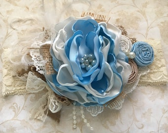 Country Girl over the top headband, over the top bow, couture headband, baby blue headband, baby headband, cream headband, dollcake headband