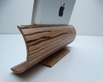 Support ipad en bois, idée cadeau pour tablette, support ipad en chêne, support i pad multipli cintré