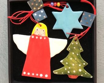 Christmas Tree Decoration set.Angel ,Star & Christmas Tree Hanging Porcelain Decorations.Handmade.Christmas gift set .