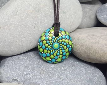 Mandala Necklace Pendant - Painted Rock - Hand-Painted Mandala Rock - Mandala Pendant - Painted Stone - Chakra - Meditation