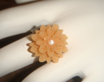 Antiqued Brass Adjustable Orange Flower Ring with swarovski Crystal