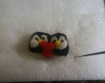 Needle felt Penguin Love charm