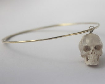 Hand carved Bone Skull charm on Brass Bangle, 1 pc Handmade hammered wire yellow brass stacking Bangle, Statement jewelry, Goth Punk Jewelry