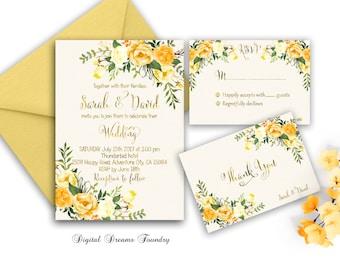 Yellow Floral Wedding Invitation Printable Gold Wedding Invitation Suite Boho Wedding Invitation Romantic Wedding Rustic Wedding Invitation