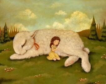 The Snuggle Bunny Print 10x8 - Children's Art, Bunny Rabbit, Girl, Nursery Art, Baby, Cute, Kids Art, Pale Yellow, Cream, Rose Pink, Forest