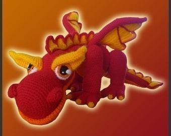 Amigurumi Pattern Crochet JJ Fire Dragon DIY Digital Download