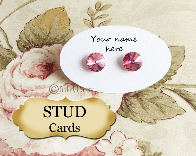 54 •1.5 x 2.5 Oval STUD•EARRING Cards•Jewelry cards•Earring Display•Post Earring Card•Stud card•stud card 2