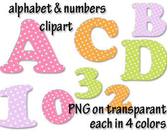 Alphabet clipart polka dots fonts, alphabet letters clipart, letters and numbers clipart, number clipart, Scrapbook supplies  PNG