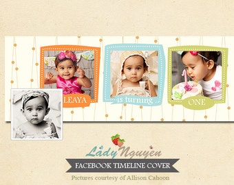 INSTANT DOWNLOAD 1st Birthday Facebook timeline - Template for photographers - F056