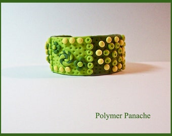 "Cuff Bracelet Polymer Clay 1 1/4"" Olive, Sage, Lime, Yellow 3 Dimensional Highly Textured Handcrafted 7"" including Magnetic Clasp"