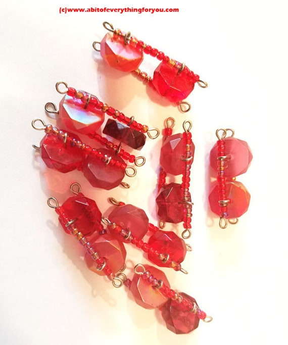red acrylic glass seed bead connector links charms jewelry making supply 30mm to 35mm
