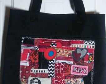 KISS ME Funky Remnants fabric scraps patch collage tote bag pink red shoulder strap stitched recycled