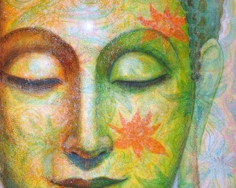 Buddha poster Spiritual Art lotus meditation Zen Buddhist Buddhism artwork print of painting by Sue Halstenberg