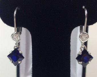 Beautiful 3.5ct Sapphire Sterling Silver Earrings Pricess Cut Blue & White Sapphire Leverback earrings Trending Jewelry Gift Trends bride
