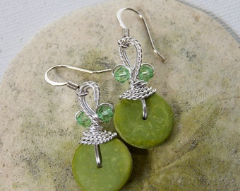 Lime Earrings, Lime Green Jewelry, Lime Dangle Earrings, Spring Green, Pastel Earrings, Green Dangles, Wire Wrapped, Funky Earrings,Crystals