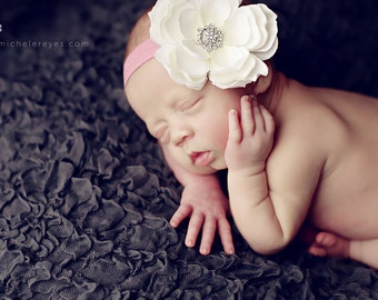 Baby Girl Flower Headband - Baby Flower Headband - Baby Girl Headband - Baby Headband - Large White Flower On Pink Headband