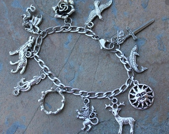 Game of Thrones Inspired Charm Bracelet- Stainless Steel Chain- Stag, Wolf, Lion, Dragon, Kraken, Sun, Trout, Falcon, Rose, Sword, Crown