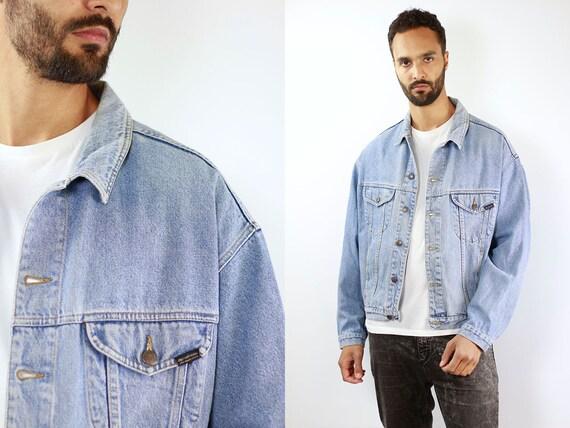 Denim Jacket Vintage Denim Jacket Men Oversize Jean Jacket 90s Denim Jacket Retro Jean Jacket Blue Jean Jacket Large Denim Jacket Grunge