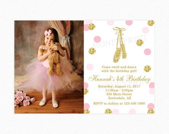 Pink and Gold Ballerina Birthday Party Invitation, Ballerina Birthday Party Invitation, Glitter Polka Dots, Photo, Printable or Printed