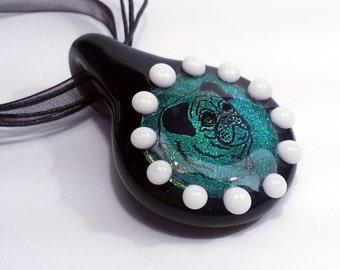Pug - Green Dichroic Glass Pendant