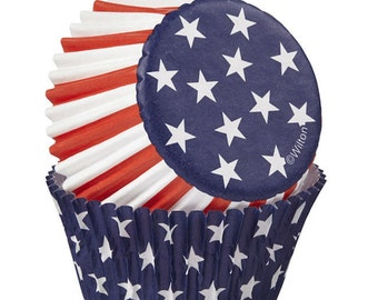 Red, White and Blue Patriotic Standard Cupcake Liners Baking Cups Muffin Cups - Wilton Cupcake Liners - Stars and Stripes Cupcake Liners