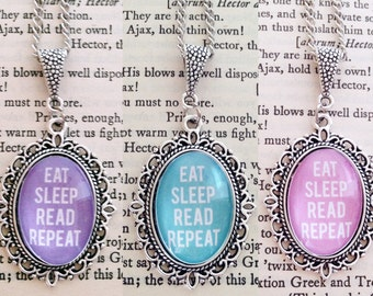 Eat Sleep Read Repeat 18x25mm Necklace - Bookish Pendant Necklace - Bookish Jewelry - Book Related Jewellery - Colourful Reading Necklace
