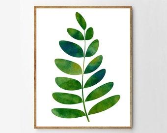 Botanical Watercolor, Leaf Print, Botanical Print, Fern Print, Nature Watercolor, Nature Print, Woodland Boho, Home Decor, Green Wall Art