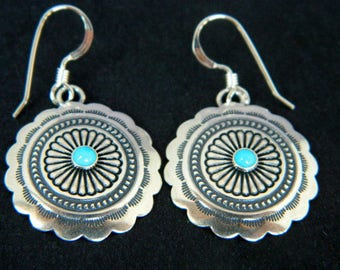 Native American Navajo Turquoise Sterling Silver Concho Earrings