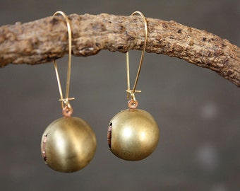 Ball Locket Keepsake Brass Earrings - Memento Brass Jewelry