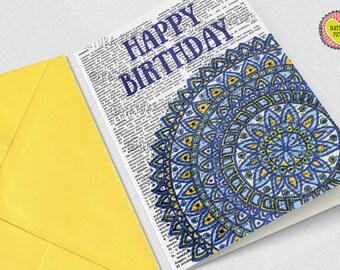 Mandala card-Happy birthday card-motivational card-quote card-Invitation-yoga card-custom card-funny card-zen card- NATURA PICTA NPGC093