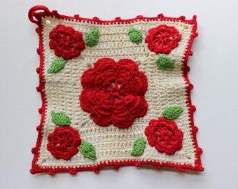 Vintage Hand Crochet Pot Holder, Rose Crochet, Antique Crochet Pot Holder, Vintage Kitchen,