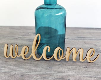 "Wood Word Cutout for Welcome Wreath - 6"" - 18"" Laser Cut Welcome Word - Wood Word Blank"