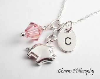 Pig Necklace - Personalized Initial Charm - Swarovski Birthstone Bead - Pig Charm Necklace - 925 Sterling Silver Jewelry - Gift for New Moms