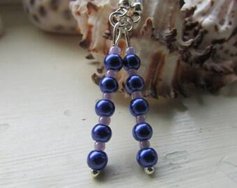 Purple and lilac earrings , Beaded earrings , Silver plated earrings , Dangle earrings , Gifts for her , Hooked earrings