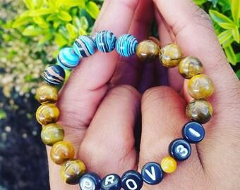 Proverbs 31 bracelet-tiger eyebead -Bible verse bracelet- Scripture-gift for her-inspirational gift